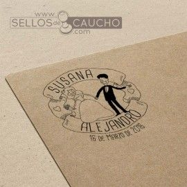 Sello boda felices novios 40x38 mm.